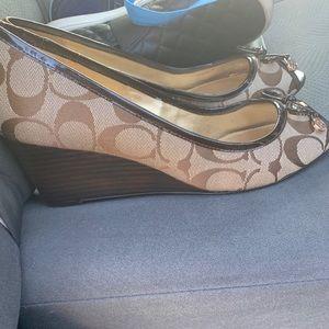 Never worn brown coach peep toe wedges